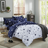 summer fashion moon and stars king queen full size 3/4 pieces bedding set doona/duvet cover flat sheet set
