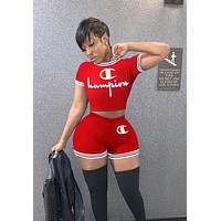 Champion Summer Fashionable Woman Sexy Print Short Sleeve Top High Waist Shorts Set Two Piece Red