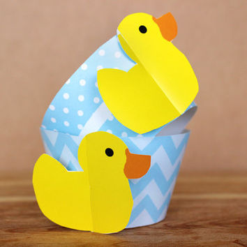 DIY Printable Patterned Rubber Duckie Cupcake Wrapper Set – baby shower – baby blue polka dot and chevron patterns INSTANT DOWNLOAD