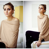Capuccino asymmetric longsleeved  Muse blouse with by LeMuse