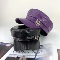 """Dior"" All-match Fashion Diamond Letter Leather Peaked Cap Flat Top Hat Sun Hat"