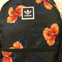 """Adidas"" Flowers Print Navy Trending Fashion Print Sport School Shoulder Bag Satchel Backpack"
