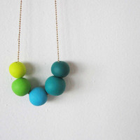 """Ombre beaded polymer clay necklace- green shades beads - sprin jewelry """" Round and round"""""""