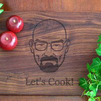 Breaking Bad Inspired, Heisenberg, Let's Cook, Custom Engraved, Walnut Cutting Board, Walter White, Personalized Cutting Board