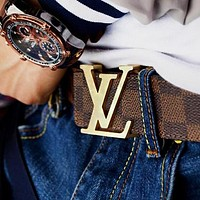 Louis Vuitton LV Trending Girls Boys Women Men Leather Smooth Buckle Belt Coffee Tartan