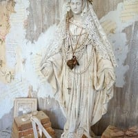 Large Virgin Mary statue plaster hand painted distressed antique Madonna figure crown w/ halo set French Nordic decor