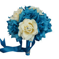 """8"""" Bouquet - Turquoise and Ivory with Rhinestone Rose Wedding Bouquet"""