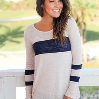 Ivory And Navy Top
