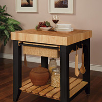 Powell Color Story Butcher Block Kitchen Island Black