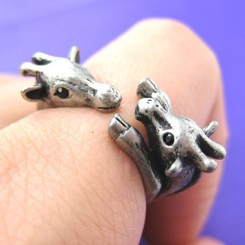 Giraffe Mother and Baby Animal Wrap Around Ring in Silver - Sizes 5 to 9 Available