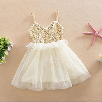 Tulle Ball Sleeveless Dresses Sequins Princess Children Baby Girl Clothing Lace Party Gown Fancy Dresses Girl Birthday AU