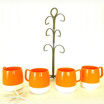 Vintage Dinex cups & mug tree orange thermal mugs avocado green tree King Seeley Thermos 1960's Mid Century Retro kitchen coffee tea cups