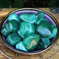 Malachite Tumbled Gemstone . Large . Well-Being, Wisdom, Power, Strength, Blockages, New Beginnings
