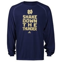 adidas Notre Dame Fighting Irish Sideline Swagger Long Sleeve Performance T-Shirt - Navy Blue