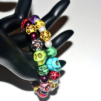 Sugar Skull Day of the Dead Memory Wire Bracelet by By5Jewelry