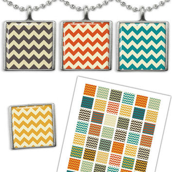 Chevron pattern  images 1x1 inch square for Jewelry making, Scrapbooking Printable Digital Collage Sheet
