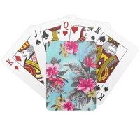 Beautiful tropical floral paint watercolours poker cards