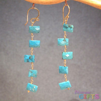 """Cushion cut turquoise linked together, 2"""" Earring Gold Or Silver"""