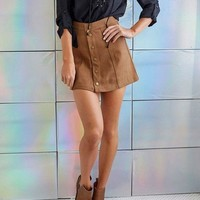 DCCK8H2 Suede Front Buckle Package Hip Skirt