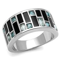 Rings For Women TK3175 Stainless Steel Ring with Synthetic in Sea Blue