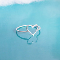 Sterling Silver Heart Ring, Simple Gold Heart Ring, Dainty Heart Ring, 14K Gold-Filled Heart Ring, Best Friend Ring, Minimal Heart Ring