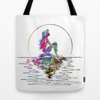 The Little Mermaid Ariel Silhouette Watercolor Tote Bag by Bitter Moon