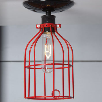 Industrial Lighting - Red Cage Light - Ceiling Mount