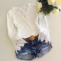 New Lady Women's Chiffon Lace White O-neck Long Patchwork Sleeve Top Shirt Blouse