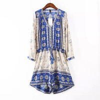 Women's Fashion Print Jumpsuit Cotton Long Sleeve Romper [4918010308]