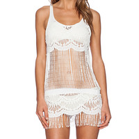 Bettinis Lace Fringe Dress in White