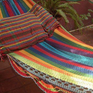 Hammocks Turquoise Double Hammock handwoven Natural by hamanica