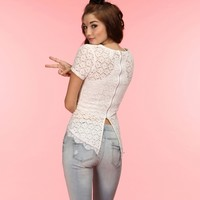 Sale-white She So Pretty Lace Peplum Top