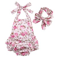 Baby Girls Sleeveless Belt Halter Rompers Dress Backless Floral Jumpsuit+headband
