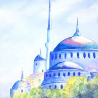 Watercolor Painting, Blue Mosque, Istanbul Turkey, 9x12,  Blue Mosque Original Watercolor, Turkish Architecture, Home decor, Wall art