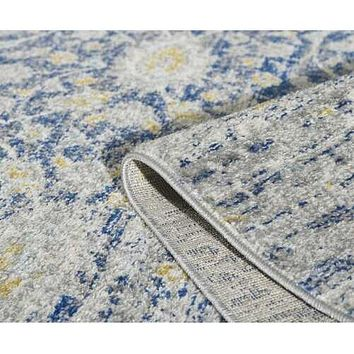 "63"" X 87"" Blue/Grey Polypropelene Rug"
