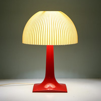 Mid Century All Plastic Red and White Atomic Lamp, Desk Lamp, Table Lamp, Vintage Lamps, Vintage Lighting, Mid Century Lighting