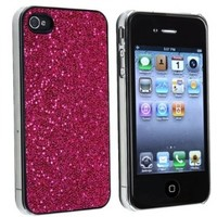 PERFECT FIT HOT PINK GLITTER BLING HARD CASE FOR iPhone 4 4S 4GS VERIZON