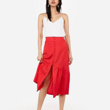 Super High Waisted Button Front Midi Skirt