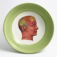 Phrenology Bowl - Green and White Bowl with Phrenology Head Illustration