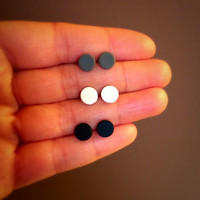 Small Matte Black White and Gray Studs Unisex Earring Set of Post Studs