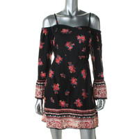 Angie Womens Printed Cold Shoulder Casual Dress