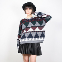 Vintage Cosby Sweater 1980s 80s Sweater Gray Green Black Red Chevron Striped Jumper Pullover Geometric Knit Southwestern Color Block L Large