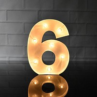 BLOWOUT Marquee Light Number '6' LED Metal Sign (8 Inch, Battery Operated)