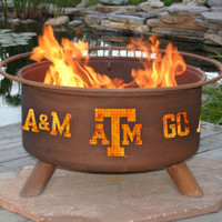 TAMU Texas A&M Aggies Portable Outdoor Grilling Fire Pit With Free Accessory Kit