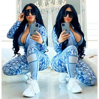 LV Louis Vuitton Hot Sale Women SLIM Casual Print Cardigan Jacket Coat Pants Trousers Set Two-Piece Sportswear Blue