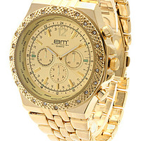 All Gold Around The World CZ Men's Watch