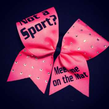 "Meet me on the Mat with Rhinestones on 3"" Grosgrain Cheer Bow"