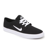 Nike SB Portmore Black & White Canvas Shoes - Mens Shoes - Black
