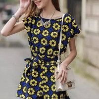Yellow Floral Pattern Short-Sleeve A-Line Romper