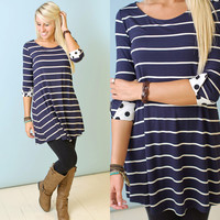 Mark the Spot Dress (Navy Striped) - Piace Boutique